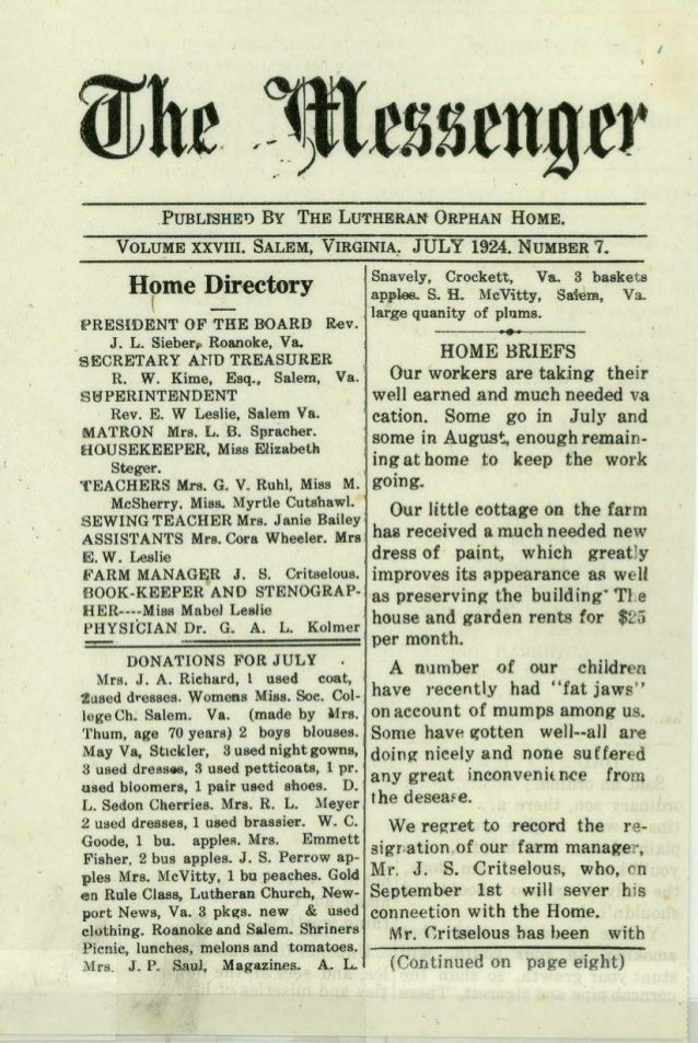 I PUBLrsHE1) By THE LUTHERAN ORPHAN HOME. VOLUME XXVIII. SALEM, VIRGINIA: JULY 1924. NUMBE~ 7, Home Directory ( - IPRESIDl...