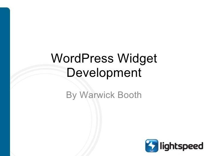 WordPress Widget Development By Warwick Booth