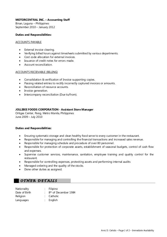 account assistant resumes