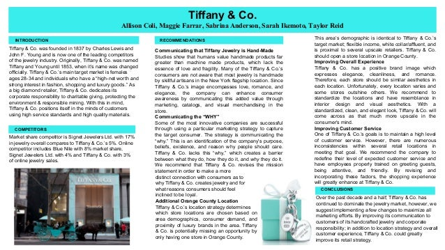 tiffany co mission statement Learn about our the story, mission and history of sunglass hut from where we've come to what we believe in.