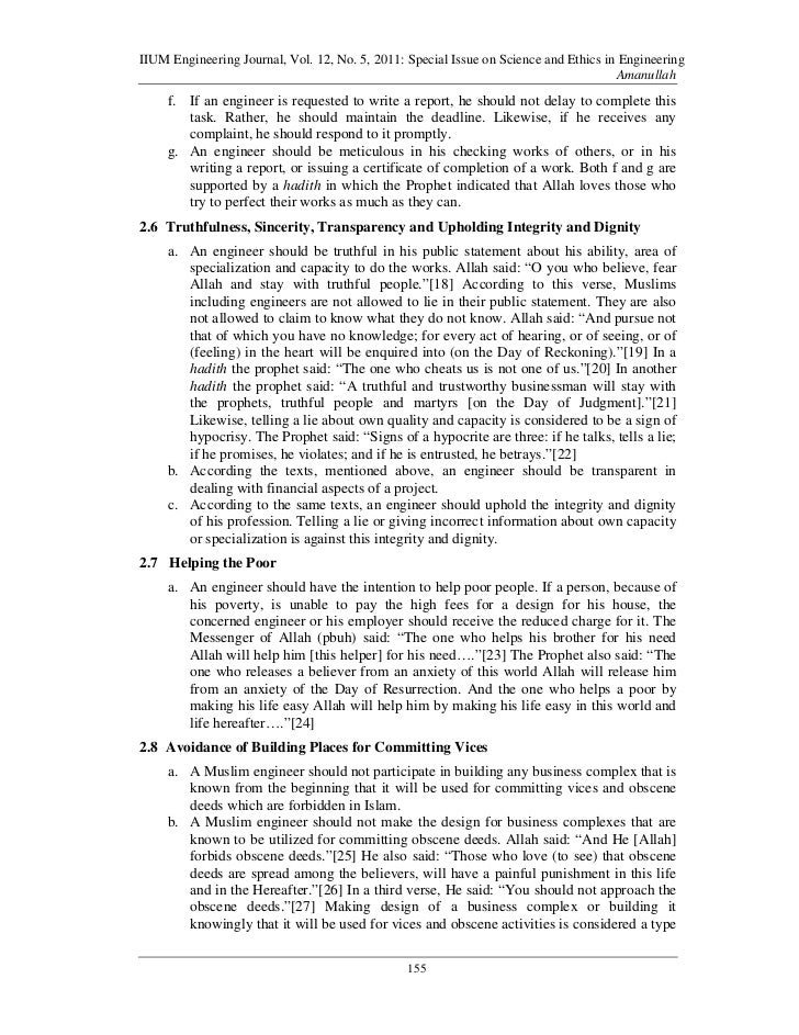 islamic ethics in engineering Iium engineering journal, vol 12, no 5, 2011: special issue on science and  ethics in engineering.