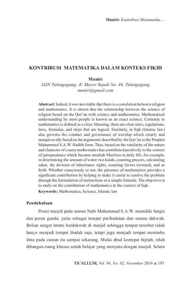 TA'ALLUM, Vol. 04, No. 02, November 2016 ж 193 Muniri: Kontribusi Matematika.... KONTRIBUSI MATEMATIKA DALAM KONTEKS FIKIH...