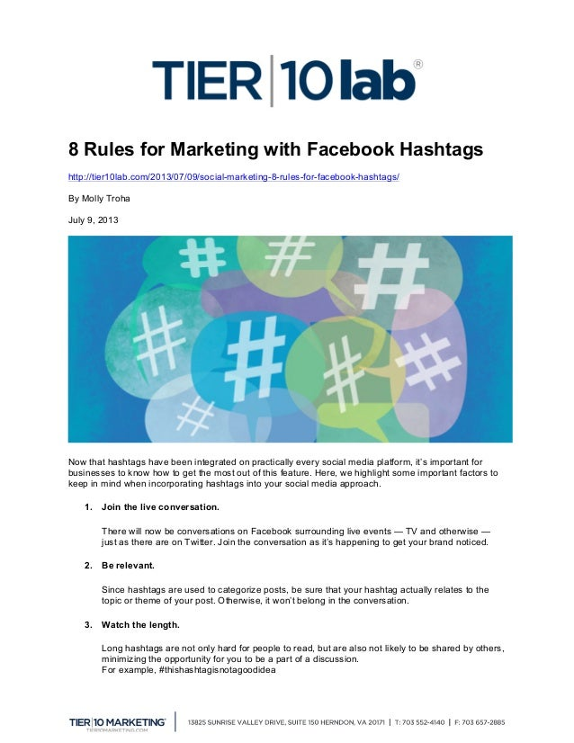 8 Rules for Marketing with Facebook Hashtags http://tier10lab.com/2013/07/09/social-marketing-8-rules-for-facebook-hashtag...