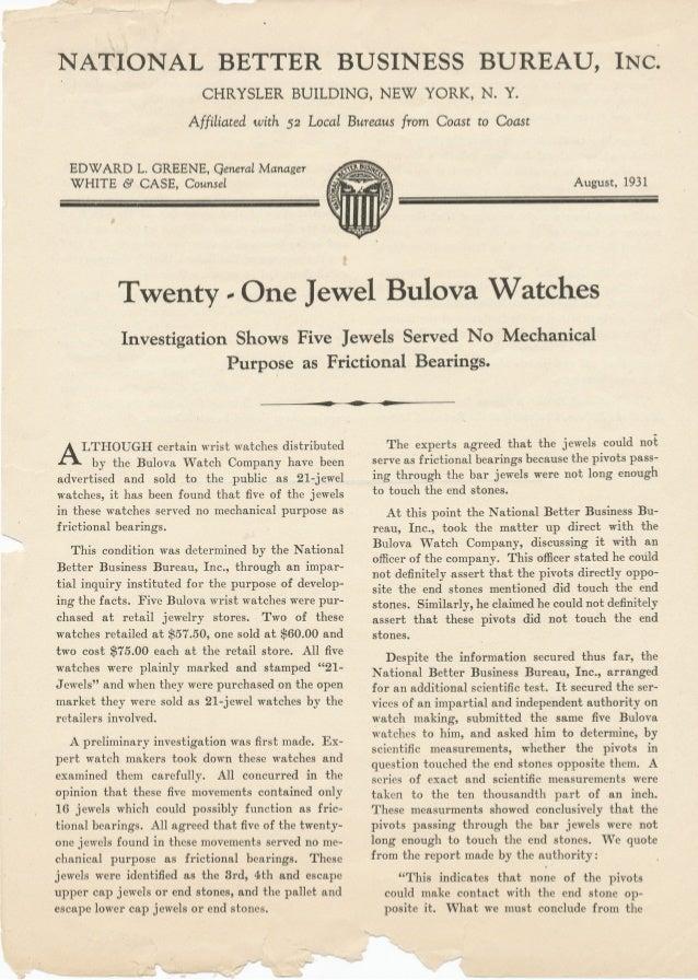 Twenty - One Jewel Bulova Watches