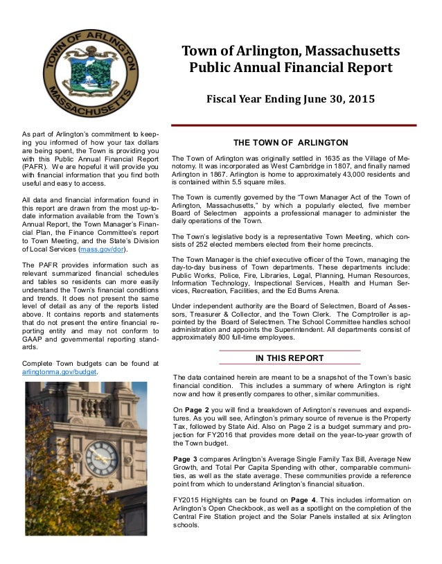 The data contained herein are meant to be a snapshot of the Town's basic financial condition. This includes a summary of w...