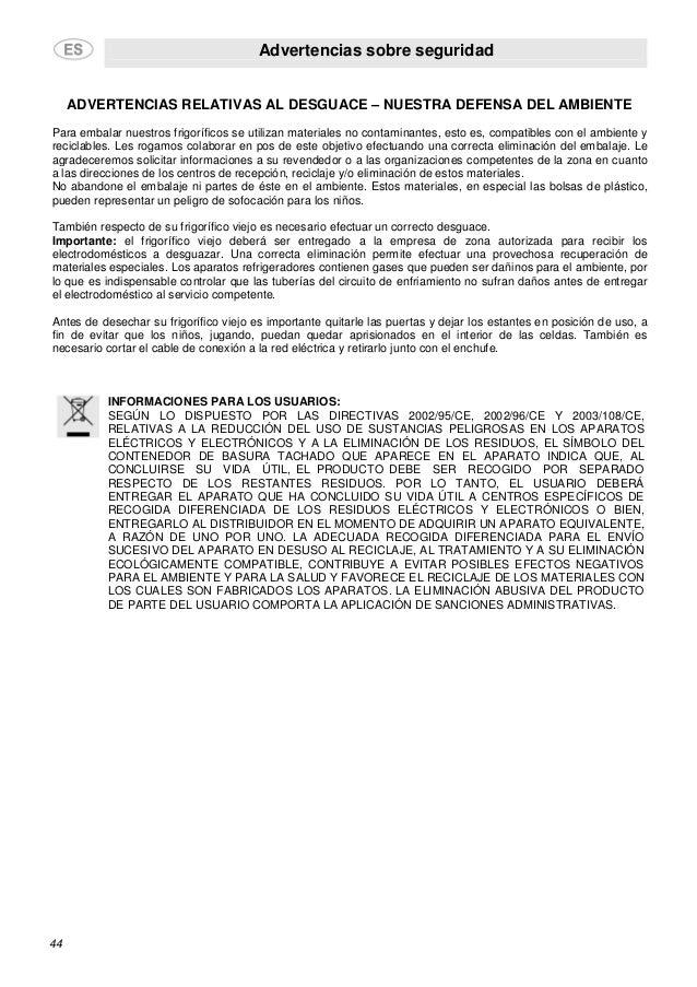 Advertencias sobre seguridad 44 ADVERTENCIAS RELATIVAS AL DESGUACE – NUESTRA DEFENSA DEL AMBIENTE Para embalar nuestros fr...