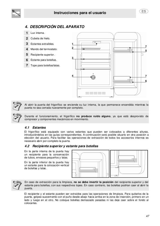 Instrucciones para el usuario 47 4. DESCRIPCIÓN DEL APARATO 1 Luz interna. 2 Cubeta de hielo. 3 Estantes extraíbles. 4 Man...