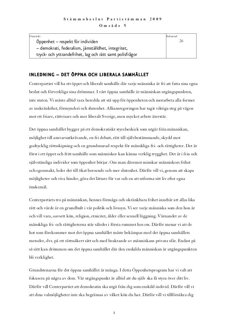Stämmobeslut Partistämman 2009                                          Område 5  Område:                                 ...