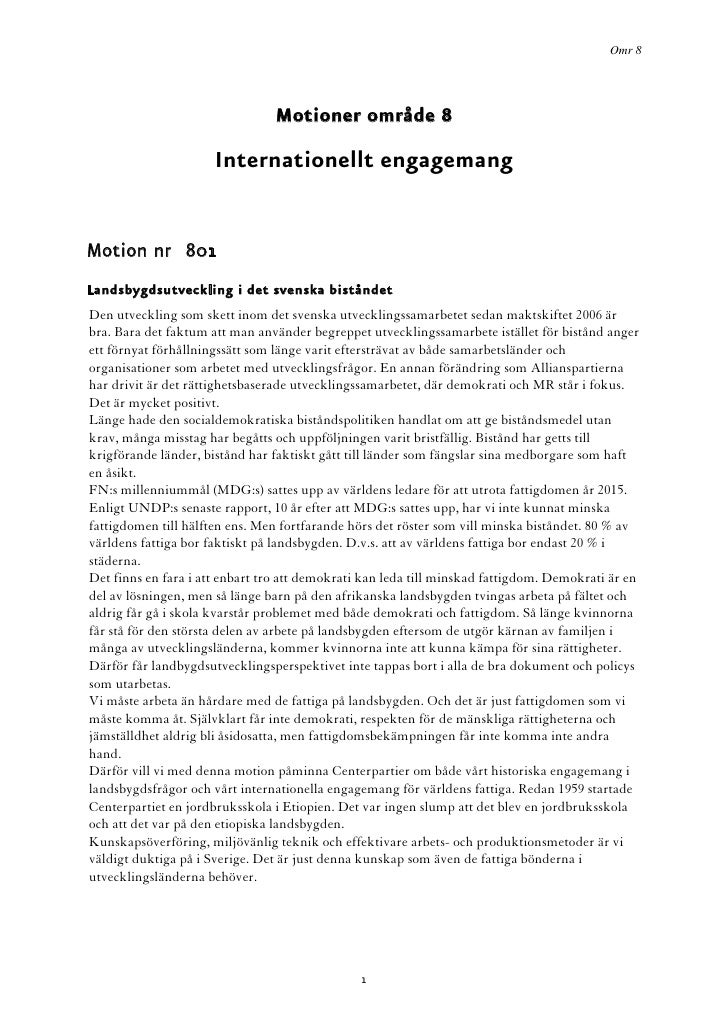 Omr 8                                     Motioner område 8                        Internationellt engagemang   Motion nr ...