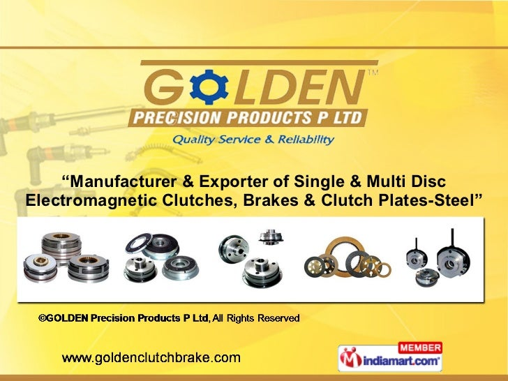 """"""" Manufacturer & Exporter of Single & Multi Disc Electromagnetic Clutches, Brakes & Clutch Plates-Steel"""""""