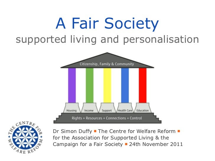 A Fair Societysupported living and personalisation       Dr Simon Duffy ■ The Centre for Welfare Reform ■       for the As...