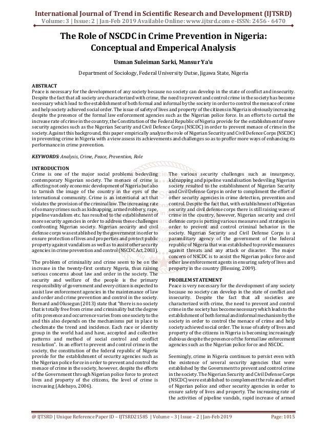 The Role of NSCDC in Crime Prevention in Nigeria Conceptual