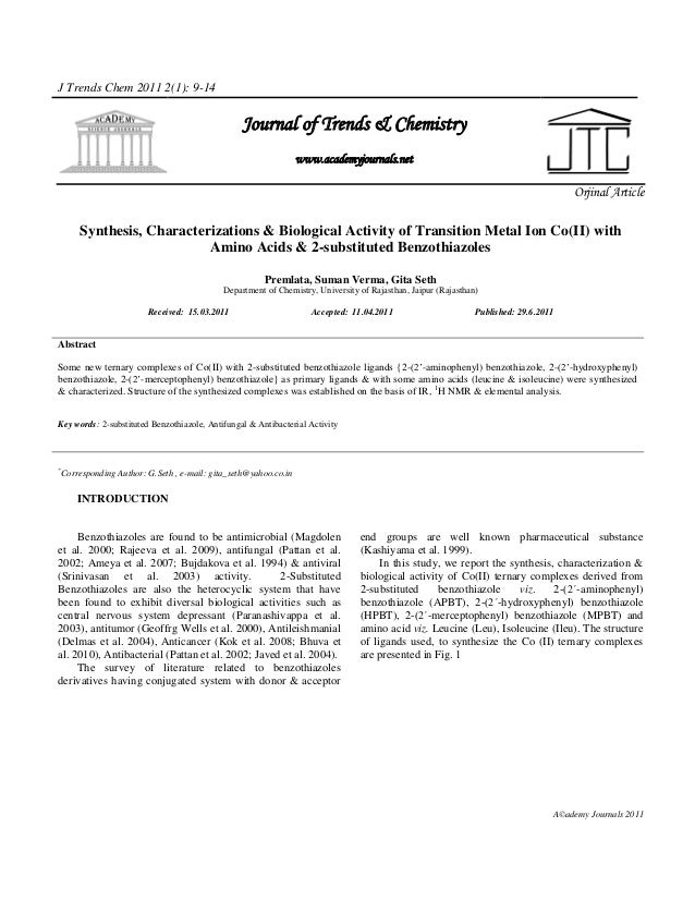 J Trends Chem 2011 2(1): 9-14                                                 Journal of Trends & Chemistry               ...