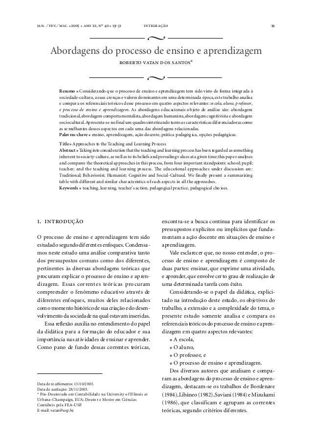 . ⁄ . ⁄ . ●  ●  , º  ● -    19  Abordagens do processo de ensino e aprendizagem ...