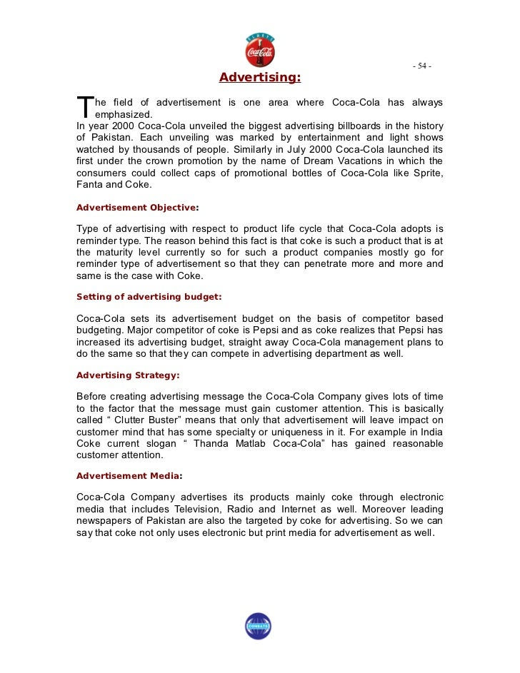 project on cocacola Project on coca cola 1 index title page acknowledgement introduction chapter 1: profiles history of the company early growth wartime development recent developments postwar growth chapter 2: industrial profile soft drink industry in india coca-cola in india vision of coca-cola in india mission of the coca-cola in india chapter 3: product profile soft drink industry in india coca-cola in india .