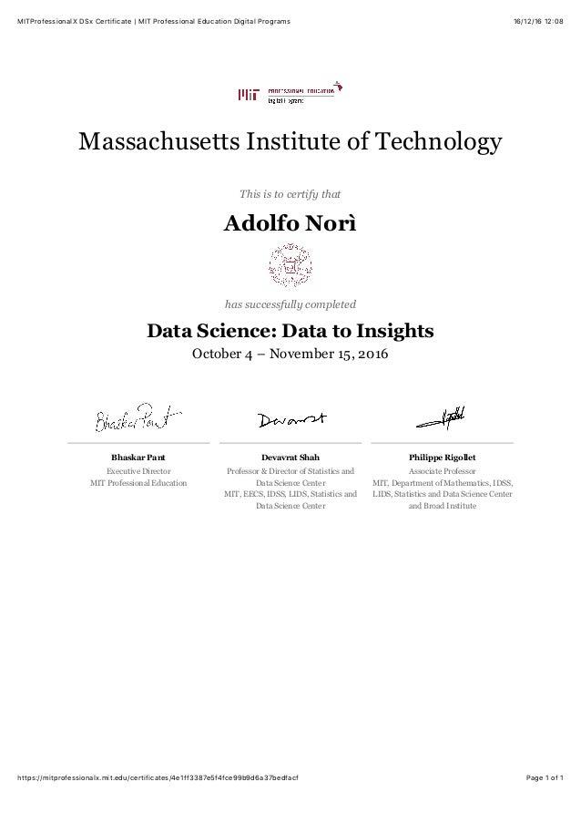 MITProfessionalX DSx Certificate | MIT Professional Education Digital…