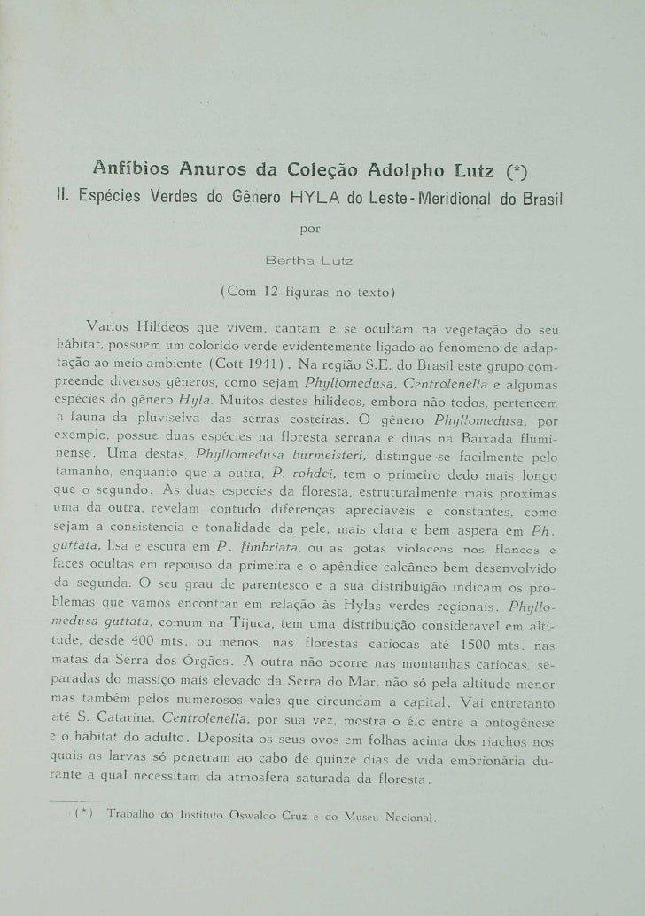 Anfíbios Anuros da coleção Adolpho Lutz: II
