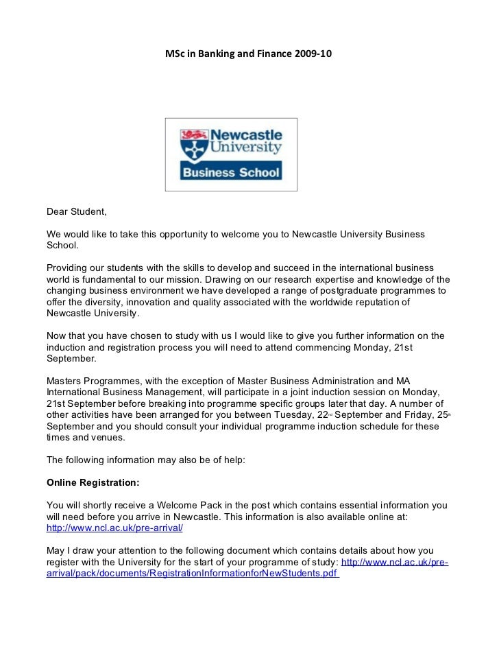 MSc in Banking and Finance 2009-10     Dear Student,  We would like to take this opportunity to welcome you to Newcastle U...