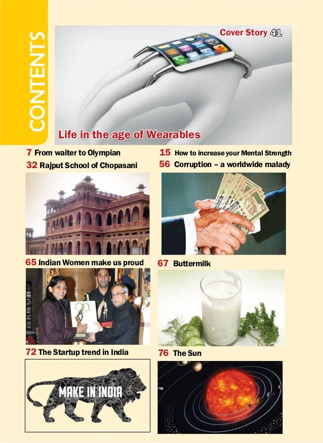    GYAN Vitaranam September 15 - October 14, 20164 t CONTENTS Cover Story 41 Life in the age of Wearables 7 From waiter to...