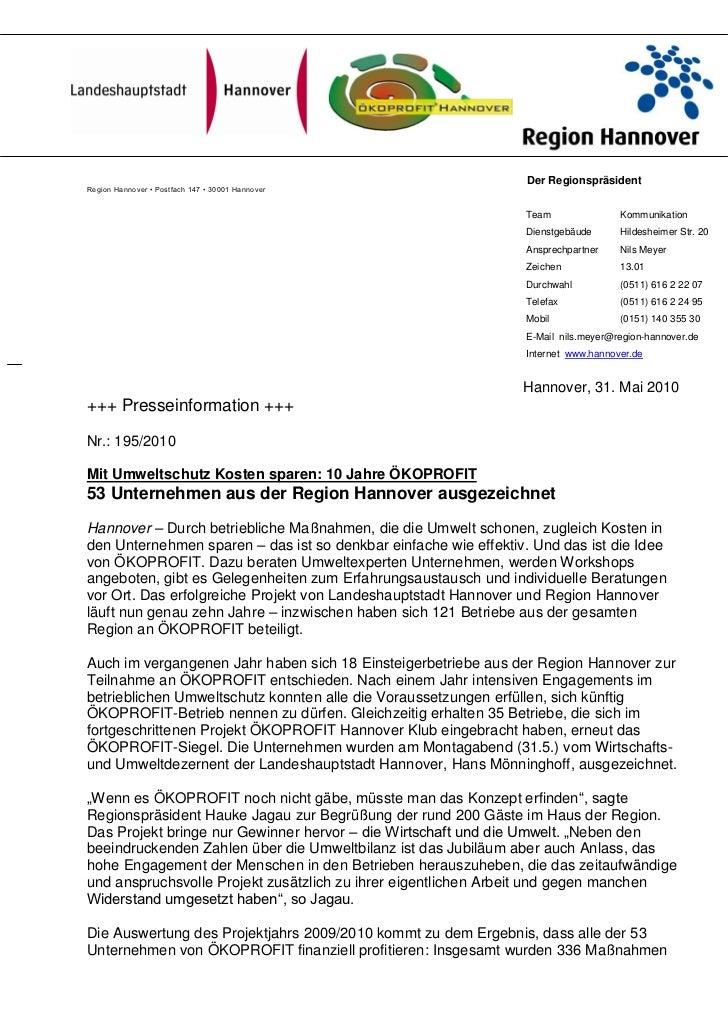 Der RegionspräsidentRegion Hannover • Postfach 147 • 30001 Hannover                                                       ...