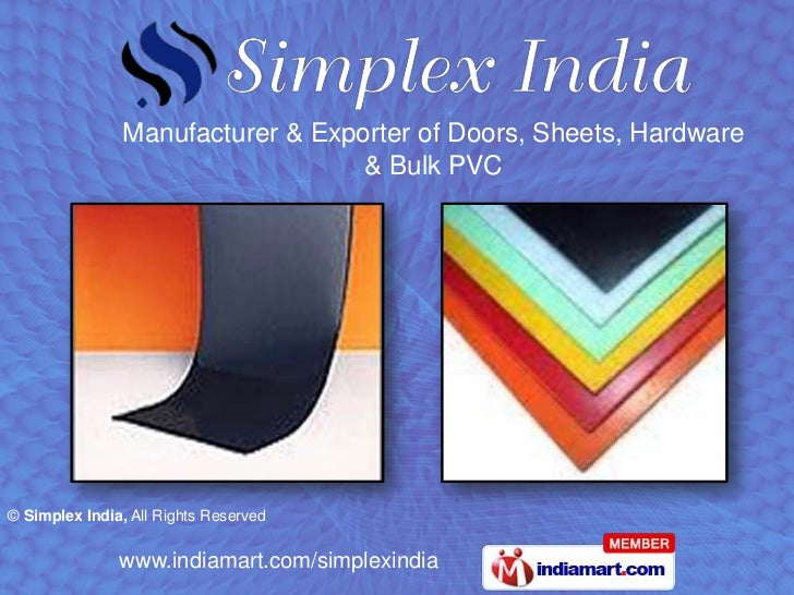 Manufacturer & Exporter of Doors, Sheets, Hardware & Bulk PVC<br />