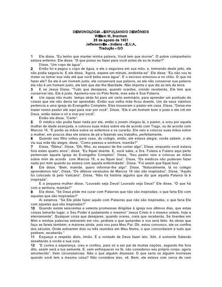 DEMONOLOGIA - EXPULSANDO DEMÔNIOS                                     William M. Branham                                  ...