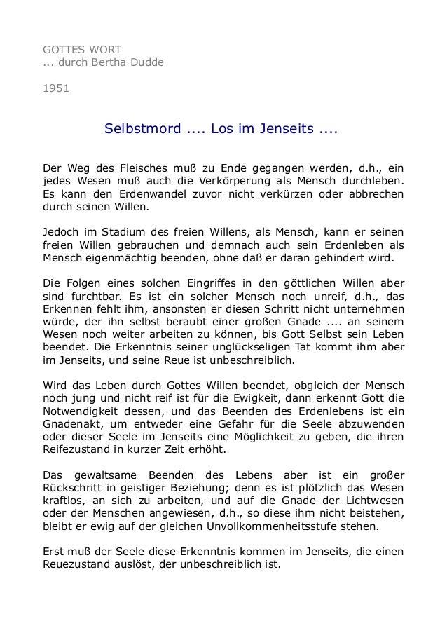 GOTTES WORT ... durch Bertha Dudde 1951 Selbstmord .... Los im Jenseits .... Der Weg des Fleisches muß zu Ende gegangen we...