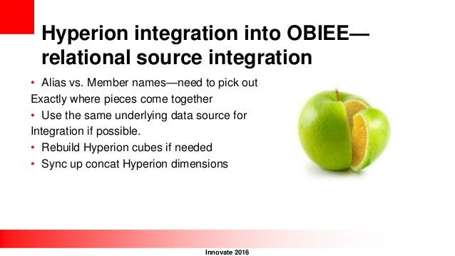 Innovate 2016 Hyperion integration into OBIEE— relational source integration • Alias vs. Member names—need to pick out Exa...