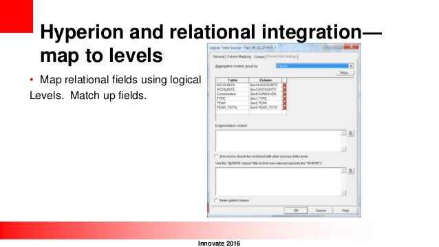 Innovate 2016 Hyperion and relational integration— map to levels • Map relational fields using logical Levels. Match up fi...