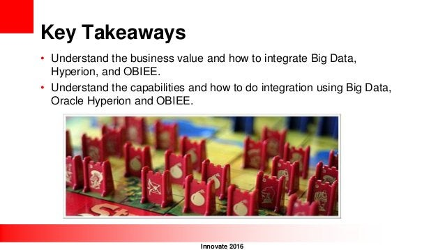 Innovate 2016 Key Takeaways • Understand the business value and how to integrate Big Data, Hyperion, and OBIEE. • Understa...