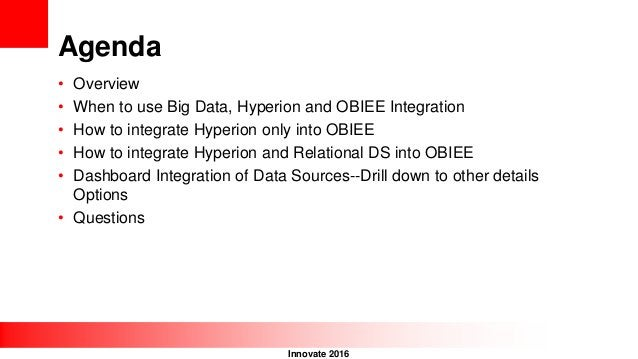 Innovate 2016 Agenda • Overview • When to use Big Data, Hyperion and OBIEE Integration • How to integrate Hyperion only in...