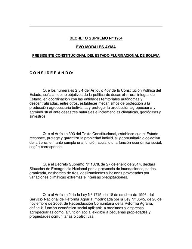 DECRETO SUPREMO N° 1954 EVO MORALES AYMA PRESIDENTE CONSTITUCIONAL DEL ESTADO PLURINACIONAL DE BOLIVIA C O N S I D E R A N...