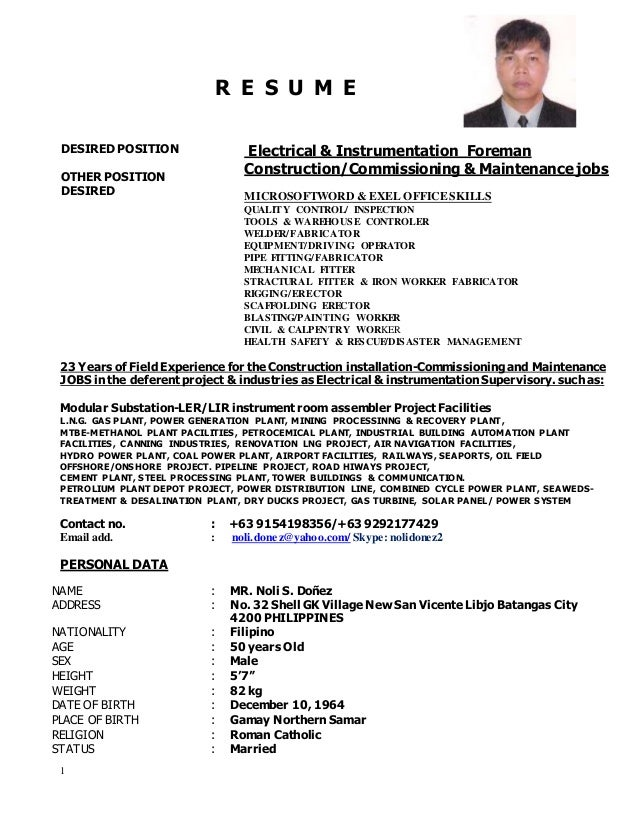 noli updated resume