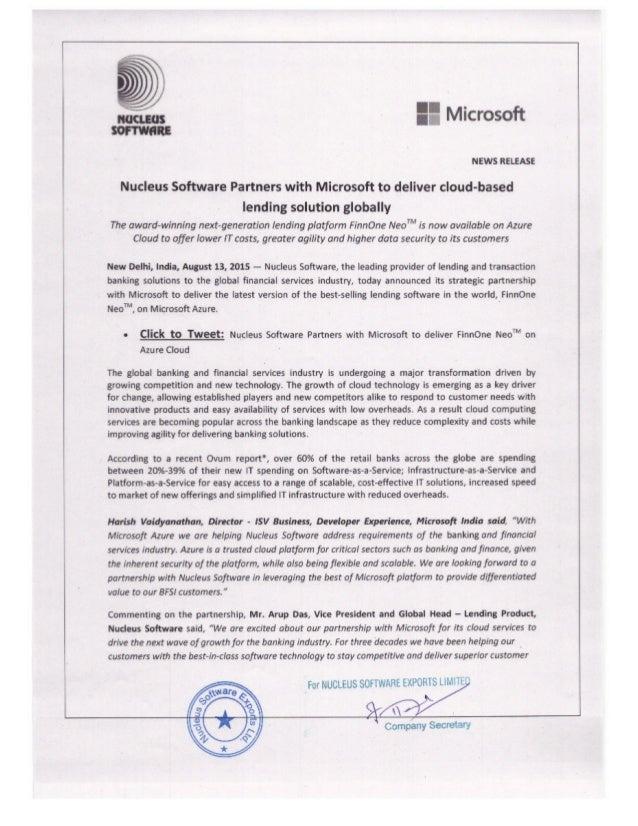 Nucleus-Microsoft Cloud Alliance Announcement