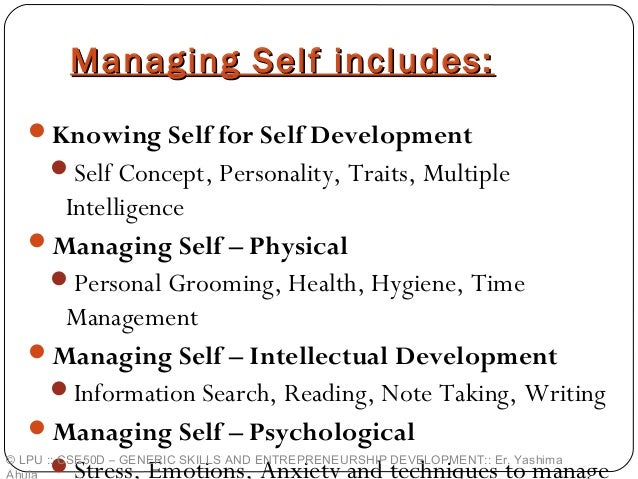 managing self and personal skills Familiar with the targeted shift in skills, time applications, and work values and how to facilitate this shift first, however, you should understand how events at the individual contributor level have recently reshaped the skill, time, and value requirements  from managing self to managing others.