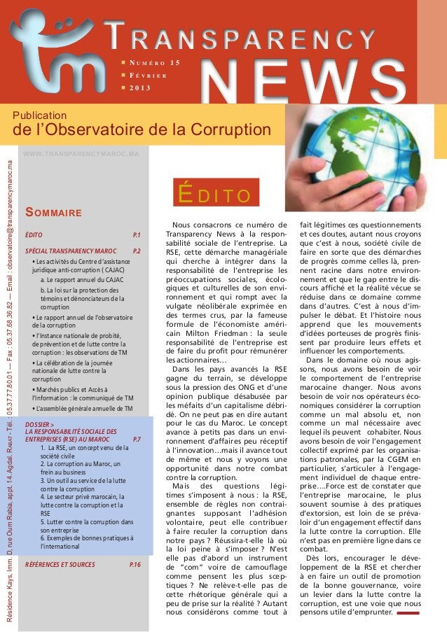 Trans parency  n N u m é r o 1 5  n F é v r i e r  n 2 0 1 3 NEWS Publication  de l'Observatoire de la Corruption  www.tra...