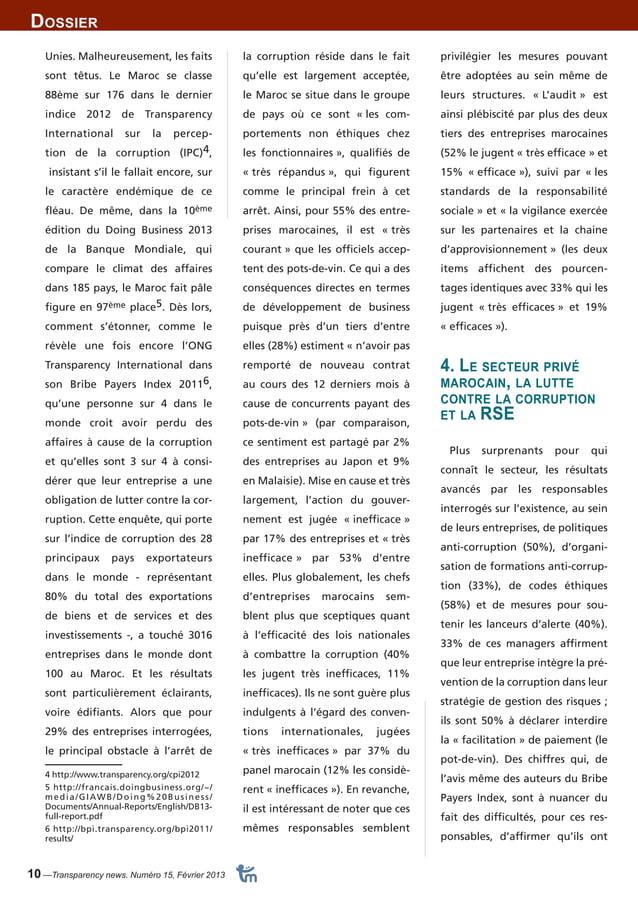 Dossier  10 —Transparency news. Numéro 15, Février 2013  privilégier les mesures pouvant  être adoptées au sein même de  l...