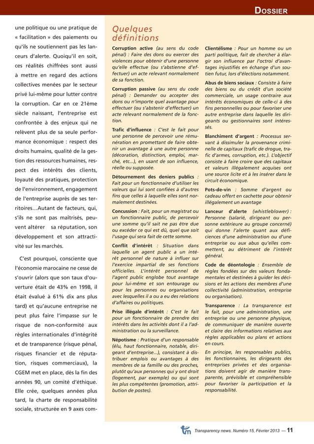 Dossier  Transparency news. Numéro 15, Février 2013 — 11  une politique ou une pratique de  « facilitation » des paiements...