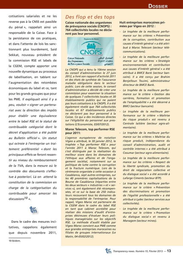 Dossier  Transparency news. Numéro 15, Février 2013 — 13  cotisations salariales et ne les  reverse pas à la CNSS est pass...
