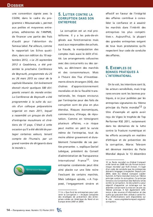 Dossier  14 —Transparency news. Numéro 15, Février 2013  effectif en faveur de l'intégrité  des affaires contribue à conso...
