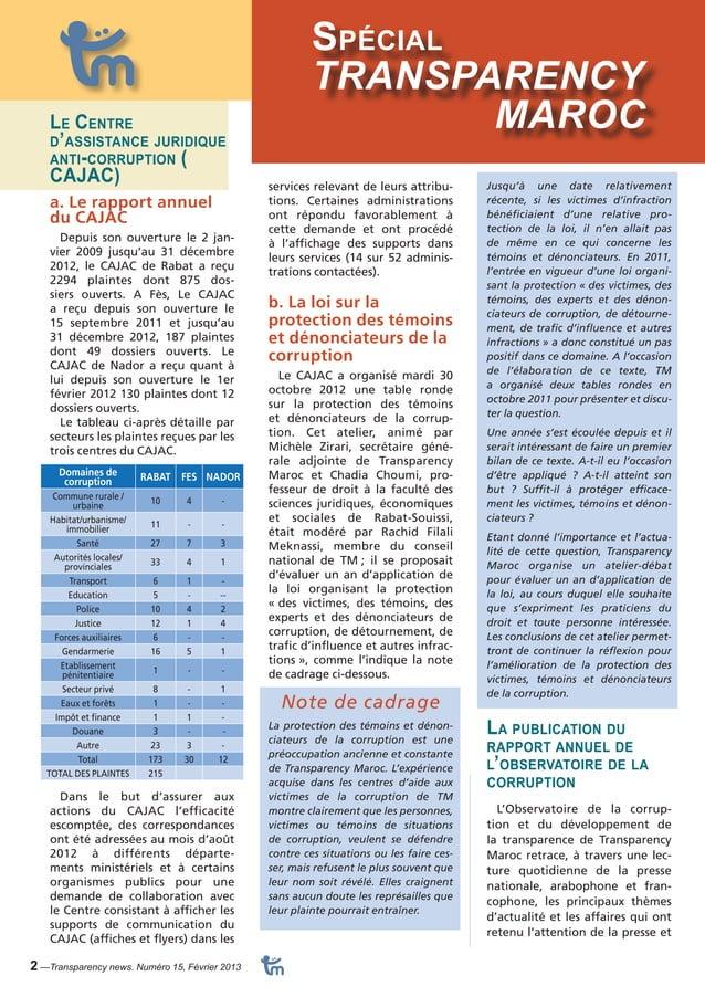 Dossier Spécial  2 —Transparency news. Numéro 15, Février 2013  TRANSPARENCY  Le Centre MAROC  d'assistance juridique  ant...