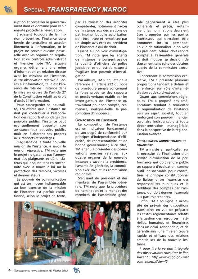 DossiSerpécial TRANSPARENCY MAROC  4 —Transparency news. Numéro 15, Février 2013  rale gagneraient à être plus  cohérents ...