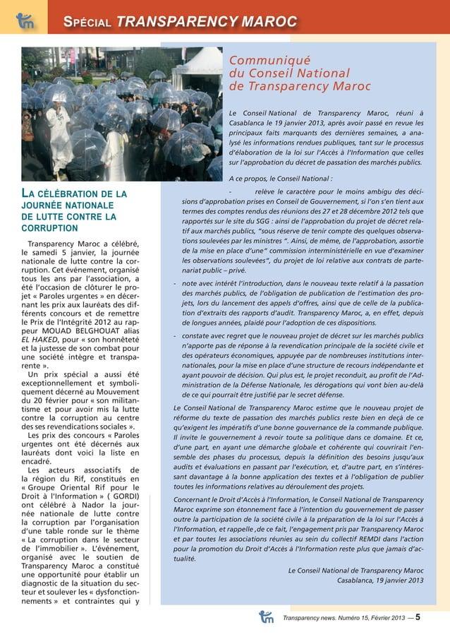 Spécial TRANSPARENCY MAROC Dossier  Transparency news. Numéro 15, Février 2013 — 5  La célébration de la  journée national...