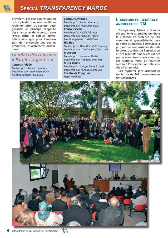 DossiSerpécial TRANSPARENCY MAROC  6 —Transparency news. Numéro 15, Février 2013  L'assemblée générale  annuelle de TM  Tr...