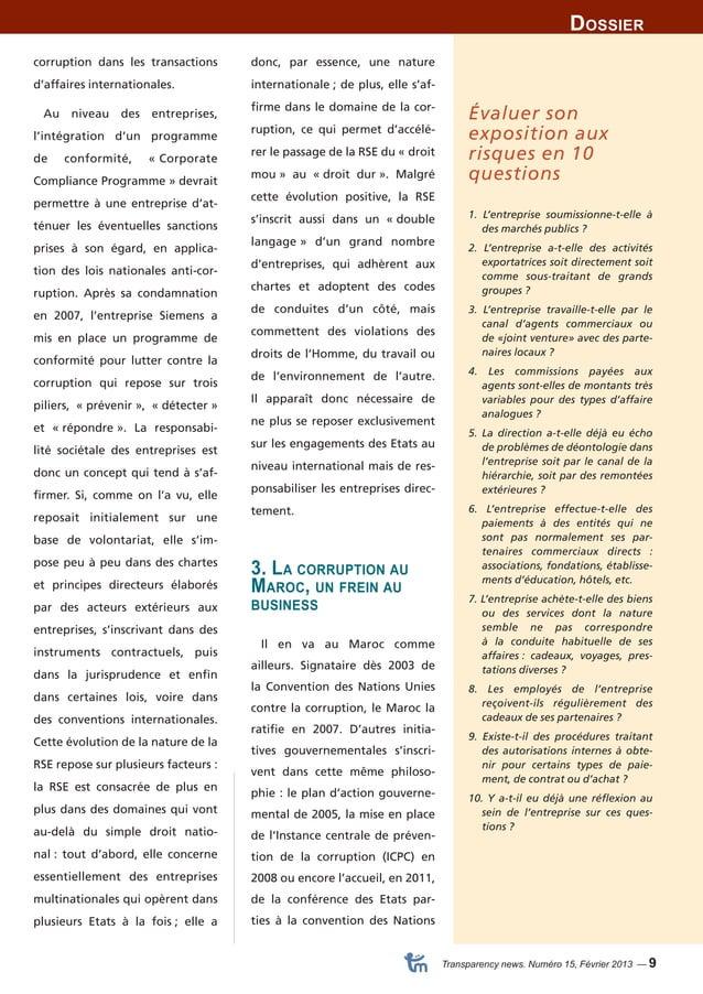 Dossier  Transparency news. Numéro 15, Février 2013 — 9  donc, par essence, une nature  internationale ; de plus, elle s'a...