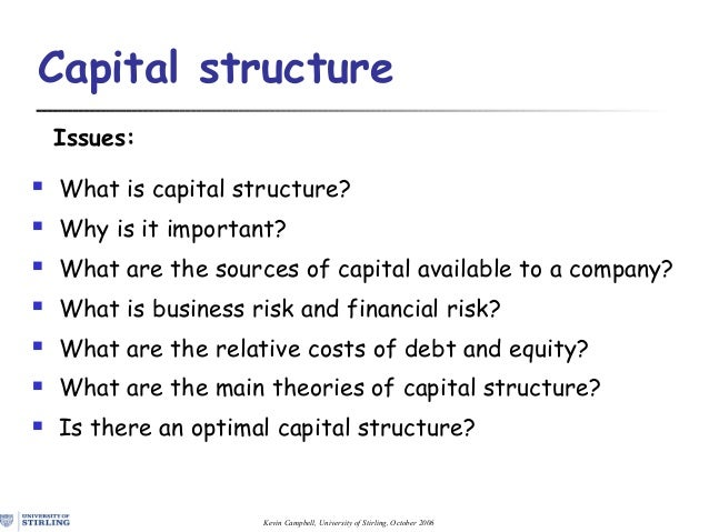 Kevin Campbell, University of Stirling, October 2006 Capital structure Issues:  What is capital structure?  Why is it im...