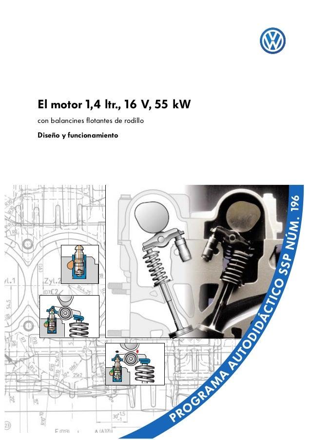 El motor 1,4 ltr., 16 V, 55 kWcon balancines flotantes de rodilloDiseño y funcionamiento                                  ...