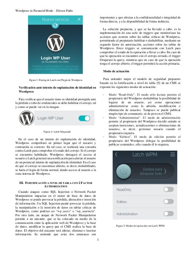 Wordpress in Paranoid Mode – Eleven Paths 3 Figura 3: Pairing de Latch con Plugin de Wordpress Verificación ante intento d...