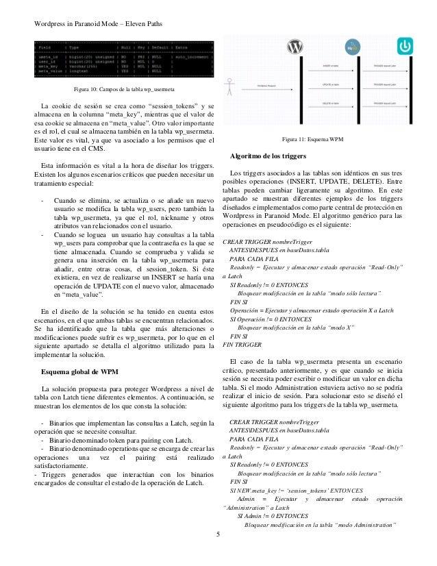 """Wordpress in Paranoid Mode – Eleven Paths 5 Figura 10: Campos de la tabla wp_usermeta La cookie de sesión se crea como """"se..."""