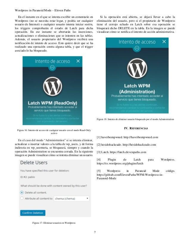 Wordpress in Paranoid Mode – Eleven Paths 7 En el instante en el que se intenta escribir un comentario en Wordpress (no se...